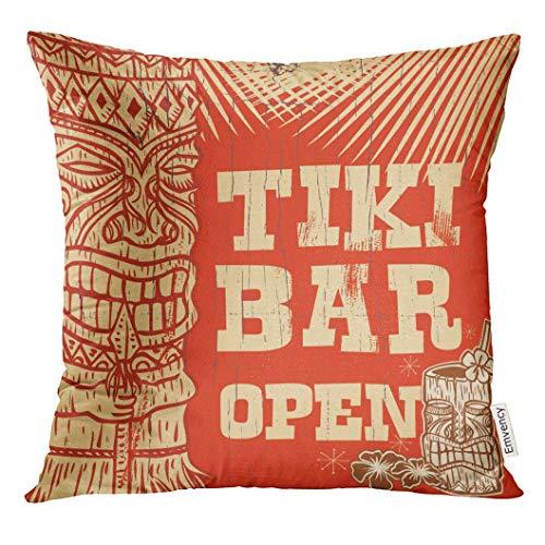 Bamboo Beach Tiki Bar (Cupsbags Throw Pillow Cover Orange Hawaii Vintage Wooden Sign Tiki Bar Open Party Beach Decorative Pillow Case Home Decor Square 18x18 Inches Pillowcase)