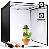 Amzdeal Portatile Tenda Studio 3000-6500 K Dimmerabile Light Box Fotografico con 4 Panni Sfondi (Nero/Bianco/Grigio/Arancione)