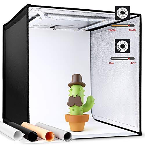 Amzdeal Faltbares Fotostudio 3000-6500K Dimmbare Lichtzelt50cm Foto Zelte mit 4 Hintergründe (Schwarz, Weiß, Grau, Orange) CRI90 -