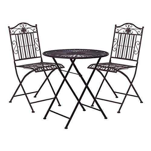 BUTLERS Terrace Hill Balkonset Eisen - Bistrotisch und 2 Stühle - Dunkle Gartenmöbel aus Metall - Stuhl und Tisch klappbar