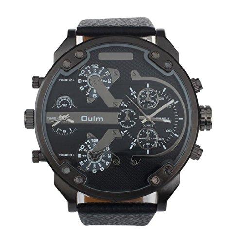 Feixiang Relojes & accesorios Relojes Para Hombresreloj Militar De Lujo De Cuarzo De Doble Tiempo Reloj De Pulsera Oulm (Negro)