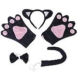 Sharplace Katze Kostüm Set - Haarreif in Schwarz mit Katzenohren, Handschuhe, Fliege, Katzenschwanz für Fasching Karneval Party