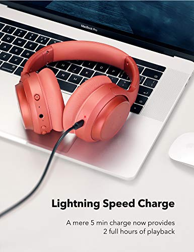 Active Noise Cancelling Bluetooth 5.0 Kopfhörer Tiefer Bass mit CVC Geräuschunterdrückendes Mikrofon 30 Std. Orange