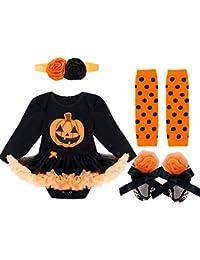 FEESHOW (juego de 4)Vestido Traje Disfraces Bebés Niñas para Día de Halloween calabaza en oferta