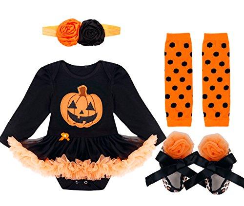 YiZYiF Neugeborenes Baby Mädchen Bekleidungsset Outfits Kürbis Halloween Kostüm Kurzarm Strampler Overall mit Tütü Röckchen + Stirnband + Beinwärmer + Schuhe (0-3 Monate, Stil 3 ( Langarm ))