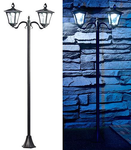 Royal Gardineer Solarlaterne: Solar-LED-Gartenlaterne, 2 flammig, PIR- & Dämmerungssensor, 200 Lumen (Solarleuchte mit Bewegungsmelder)