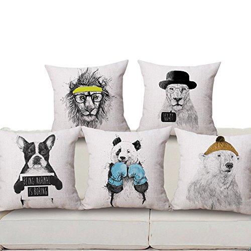 Harson&Jane Decorar el Cojín Almohada Caso Serie Animal 18 * 18 pulgadas Algodón Lino Tapicería para el Sofá de la sala de estar (Perro)