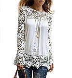 LONUPAZZ Fashion Dentelle chemisier en mousseline Chemise à manches longues femme T-shirt en coton lâches S-XXXXXL
