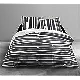 015956Piano–de funda de edredón/funda de almohada algodón, 220x 240cm), color blanco y negro