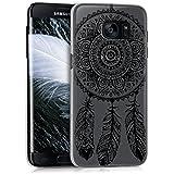 kwmobile Étui transparent élégant avec Design attrapeur de rêves pour Samsung Galaxy S7 edge en noir transparent