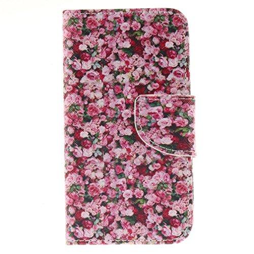Katumo®custodia lumia 630 (4.5 pollice), pu cuoio wallet case per nokia lumia 630/635 cover con stand function chiusura magnetica rosso fiore