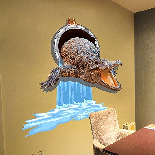 MiniWall 3 Demulation Stereo Wall Sticker Animation Wohnzimmer Schlafzimmer Zimmer Hintergrund Wanddekorationen selbstklebende Abwasserkanal Krokodil 3 Dcrocodile Abwasserkanal, König