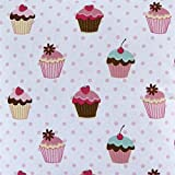 Homescapes Stoff Meterware Cup Cakes rosa weiß aus 100%