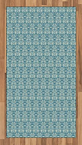 ABAKUHAUS Elfenbein und Blau Teppich, Damast-Blumen, Deko-Teppich Digitaldruck, Färben mit langfristigen Halt, 80 x 150 cm, Benzinblau und Elfenbein - Elfenbein Blumen-bereich Teppich