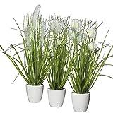 Kunstpflanze - Gras im Topf - 3 Stück - Höhe: 36cm - Farbe: Grün / Creme - Kunstgras / Tischdeko