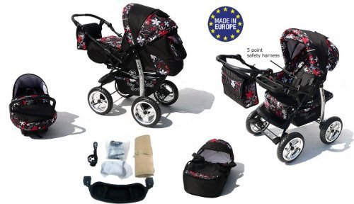 Kamil, Classic 3-in-1 Travel System with 4 STATIC (FIXED) WHEELS incl. Baby Pram, Car Seat, Pushchair & Accessories (3-in-1 Travel System, Black & Small Flowers)