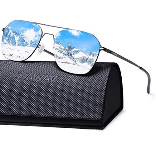 AVAWAY Ultraleicht Verspiegelte Sonnenbrille für Herren und Damen, Nylon Gläser mit UV400 Schutz Sonnenbrille - Schwarze Abgerundete Metall-rahmen