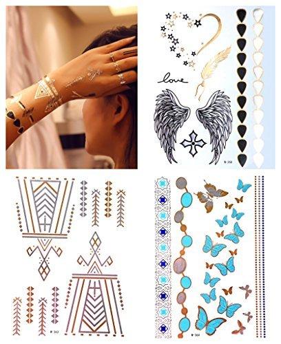 Lot 3 or métallique tatouages temporaires tatouages de flash tatouage Fiona Set B – LK Trend & Style