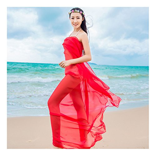 DAMILY Attraktiver Strand Kleid Einfaches Design Aparter Wickel Rock Rot
