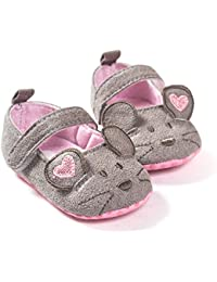 a63b6ff0642 FemmeStopper Baby Shoes 7-12 Months(13cm) Cute Baby Girls Shoes First  Walkers Cotton Grey Mouse with Pattern Shading Soft Sole Baby…