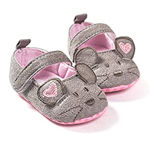 FemmeStopper 15-21 Months(14cm) Cute Baby Girls Shoes First walkers Cotton Grey mouse Soft with Pattern Shading Soft Sole Baby Toddler Prewalkers Shoe