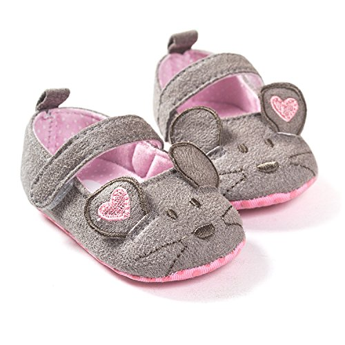 FemmeStopper BABY SHOES 12-18 Months(14cm) Cute Baby Girls Shoes First walkers Cotton Grey Mouse with Pattern Shading Soft Sole Baby Toddler Prewalkers Shoe (Grey, 15-21 Months)