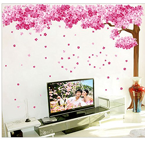 brooke-celine-wandaufkleber-romantische-dekoration-abziehbar-motiv-kirschbaum-pink-2-stueck-im-set