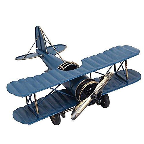 MMLC Metall Flugzeugmodell Doppeldecker Militärflugzeuge Vintage Flugzeug Modell Eisenmodell Flugzeug-Dekoration Doppeldecker Flugzeug Miniatur Dekoration Sammlung Büro Ornament (Blue) (Flugzeuge Spielzeug Vintage)