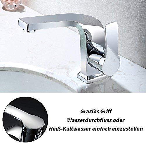 Homelody – Einhebel-Waschbeckenarmatur, ohne Ablaufgarnitur, Curved-Design, Chrom - 4