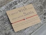 Secret Santa Wish Bracelet, Friendship Band, Star Charm, Christmas Gift, Keepsake Card.