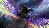 Angel Stained Glass Playmat 24 x 14 inch Mousepad for Yugioh Pokemon Magic the Gathering
