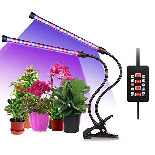 ALIENGT Pflanzenlampe Vollspektrum UV Lampe Pflanzen, 36 LED Pflanzenlicht 18W Grow LED mit Zeitschaltuhr, Automatische EIN/Aus Schalter, Dimmbar 5 Stufe Lichtstärke, Wachstumslampe Überwinterung