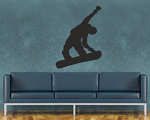 Wandtattoo Snowboarder in verschiedenen Größen und Farben (120 x 164 cm, schwarz) -