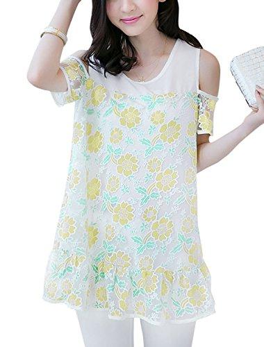 Lady motif Floral aux épaules ajourées Tunique avec revêtement intérieur en maille filetée Jaune Clair