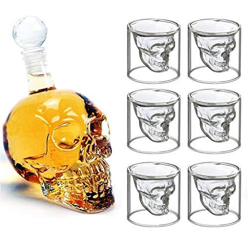 Cheng set da whisky, 700ml decanter per whiskye 6 occhiali taro a doppio strato, fatto a mano, adatto per scotch/bourbon/vodka