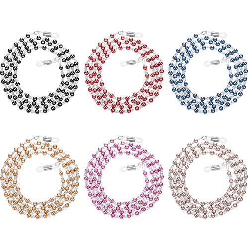 Zhanmai 6 Stück Brillen Halter Strap, Perlen Brillen Halter Lanyard Kette Halskette, Brillen String Retainer Cord für Damen Mädchen (Farbe 1)