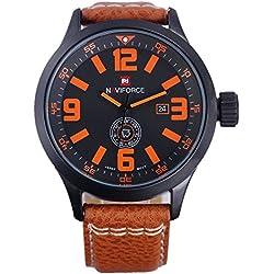 NAVIFORCE Luxury Brand Genuine Leather Strap Analog Date Men's Quartz Casual Wrist Watch (Orange)