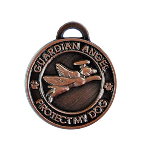 Luxepets Pet Collar Charm, Guardian Angel Dog, Antique