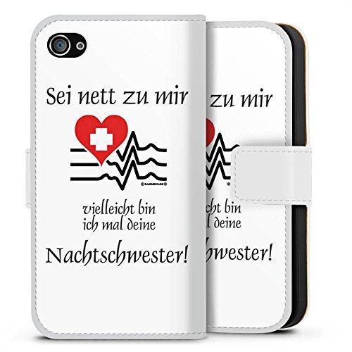 Apple iPhone 7 Silikon Hülle Case Schutzhülle Nachtschwester Krankenschwester Sprüche Sideflip Tasche weiß