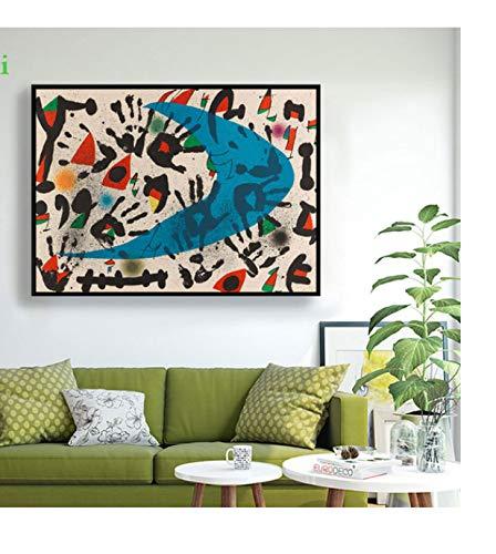 NVRENHUA Joan Miro (Nostalgico retrò Acquerello Astratto Wall Art Poster e Incisioni Famose Tela Pittura Soggiorno Decorazioni per la casa 42x60