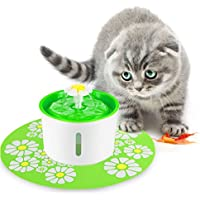 FONLAM Fuente para Gato Perrito Perro Cachorro Bebedero Automático de Silencio con Filtro + Alfombrilla Impermeable Dispensador de Agua Mascota 1,6L Higiénico (Verde)
