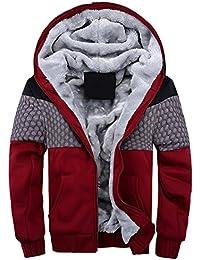 66b7ecf39129 JOLIME Herren Winterjacke Warme Jacke Kapuzenjacke Mantel mit Futter Hooded  Parka Sweatjacke