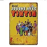 shovv Film de Bande dessinée française Les Aventures de Tintin Signes métalliques Vintage Wall Art Artisanat Peinture Affiche Accueil Bar Club Café Room Decor...