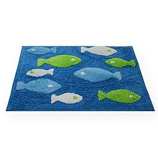 Fish Shower Mat Bath Mat Bath Rug Bath Mat Bathroom Rug # 1552, 100% Cotton, blau dunkel, 50x80 cm