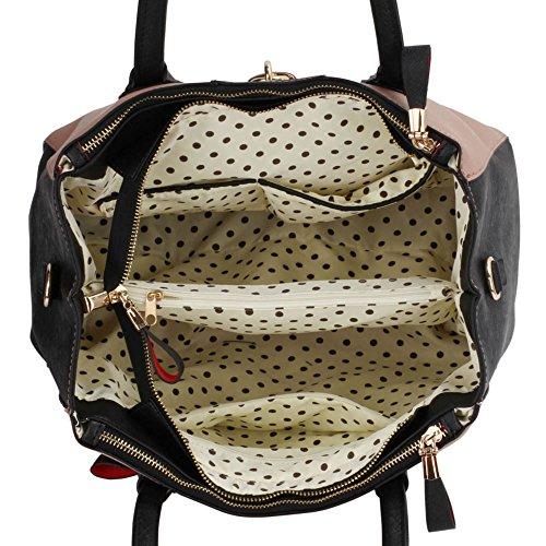 LeahWard® Große Größe Vorhängeschloss Tragetaschen Zum Damennett Damen 3 Fächer Schulter Handtaschen A4 Tasche 195 Schwarz/nackt