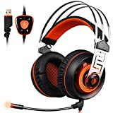 Sades A7 7.1 Virtual Surround Sound USB Gaming Headset mit Mikrofon Intelligente Geräuschunterdrückung Gaming Kopfhörer LED-Licht für Laptop PC Mac (schwarz & orange)