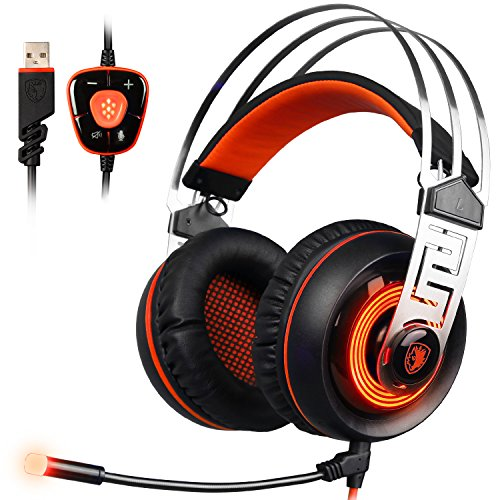 SADES A7 Gaming Headset 7.1 son surround virtuel USB Casque de jeu avec micro intelligent Noise Cancelling Gaming casque LED Light pour ordinateur portable PC Mac (Noir et Orange)