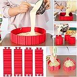 Bake Snake, Kuchenformen, Tortenring Verstellbar, Silikon Form, Backform, Fondant Zubehör, Cake Mould, DIY eine Vielzahl von Formen (rot)