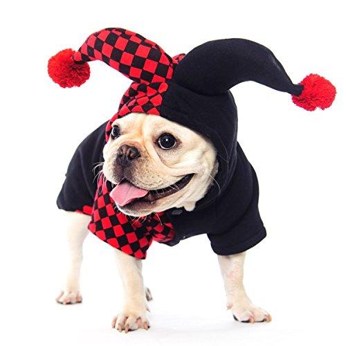 Sulida Halloween Clown Hundebekleidung Hunde Mantel Plaid Hundeweste Wintermantel Warm Dog Bekleidung für Kaltes Wetter Hund Jacke Komische Kleidung Hoodie S