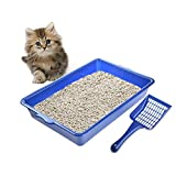 hifuture Katzentoiletten mit Schaufel Draussen Katzenklo Tragbare Reise Katzen Box Einfach zu reinigendes Katzenklo, Kunststoff, Blau, 45.5 * 30 * 8 cm